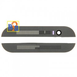 Front Upper Top & Lower Bottom Glass Lens Cover & Adhesive for HTC One M8 (Grey)