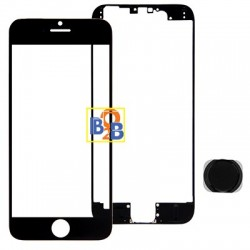 Front Screen Outer Glass Lens & Front LCD Screen bezel Frame & Home Button Replacement Kit for iPhone 6 Plus(Black)