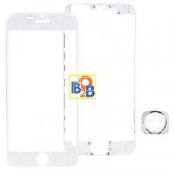 Front Screen Outer Glass Lens & Front LCD Screen bezel Frame & Home Button Replacement Kit for iPhone 6 Plus(White)