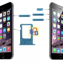 Card Tray & Volume Control Key & Screen Lock Key & Mute Switch Vibrator Key Replacement Kit for iPhone 6(Dark Blue)