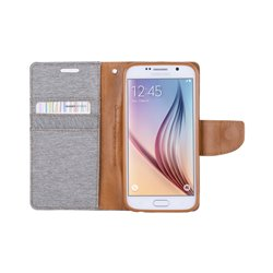 Goospery Canvas Diary Wallet Flip Cover Case by Mercury for Samsung Galaxy S6 Edge (G925)